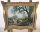 Stubbs Picture - Three Brood Mares, Mounted in Gilt Frame